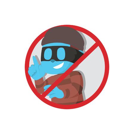 Forbidden blue thief sign– stock illustration