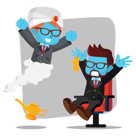 blue African businessman surprised by genie– stock illustration  イラスト・ベクター素材