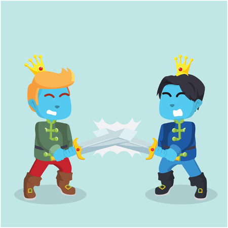 Blue prince with sword fighting each other– stock illustration Illustration