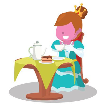 Trinkender Tee der rosa Prinzessin und essen Kuchen - Illustration auf Lager Standard-Bild - 92934333