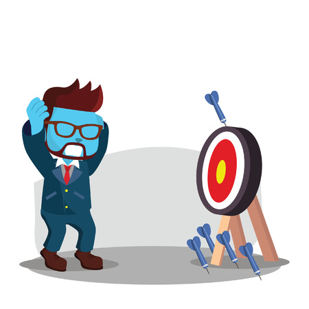 Blue businessman missing all the target Illustration