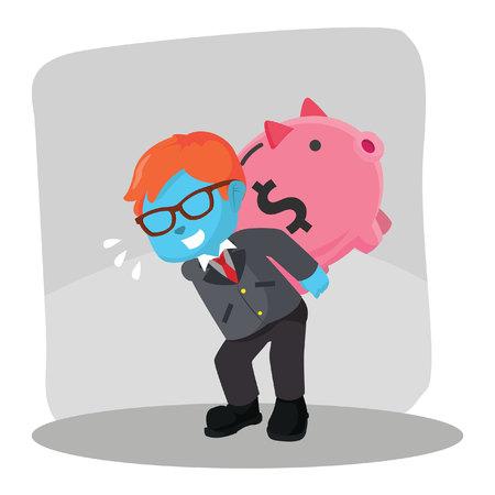 Blue businessman carrying giant piggy bank– stock illustration