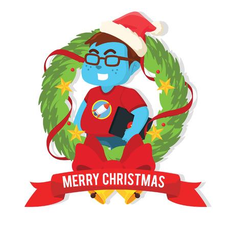 Blue fat nerd inside christmas wreath– stock illustration