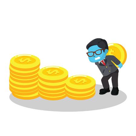Blue businessman stacking coin– stock illustration Ilustrace