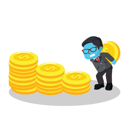 Blue businessman stacking coin– stock illustration