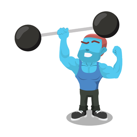 Blue body builder lifting giant dumbbell with one hand stock illustration. Illustration