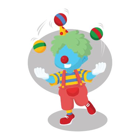 Blue boy clown juggling stock illustration. Illustration