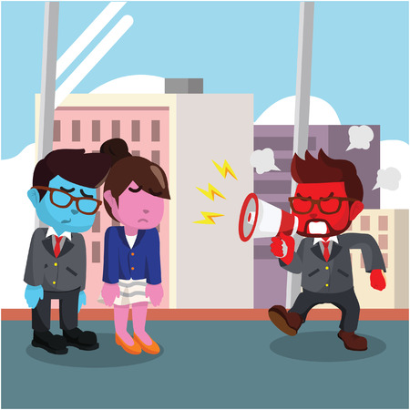 Businessman yelling at his employees
