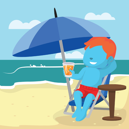 Blue boy relaxing on beach with callout– stock illustration Illustration