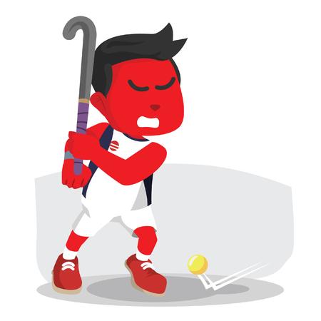 Jugador de hockey de campo rojo listo para disparar - ilustración de stock Foto de archivo - 93257345