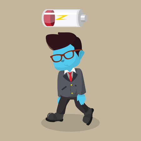 Blue businessman low energy– stock illustration Illustration