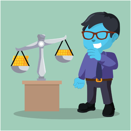 Blue businessman scaling coin– stock illustration
