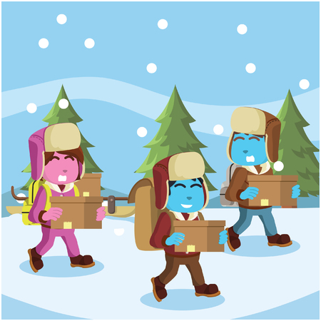Group of arctic exploler carrying goods– stock illustration