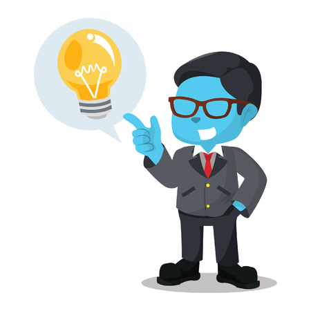 Blue businessman with idea call out stock illustration. Illustration