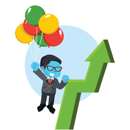 Blue businessman flying with balloon and arrow– stock illustration