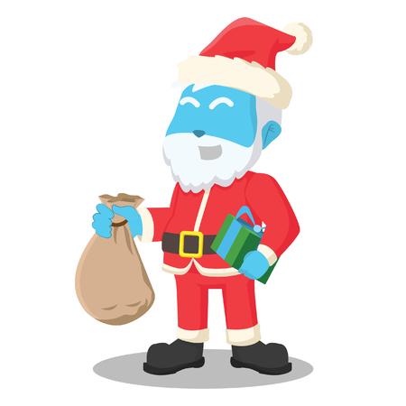 Blue santa claus holding sack of gift– stock illustration