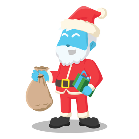 Blue santa claus holding sack of gift– stock illustration