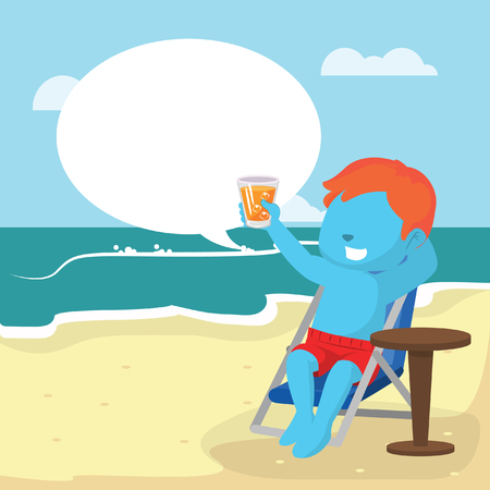 Blue boy relaxing on beach with callout in stock illustration.