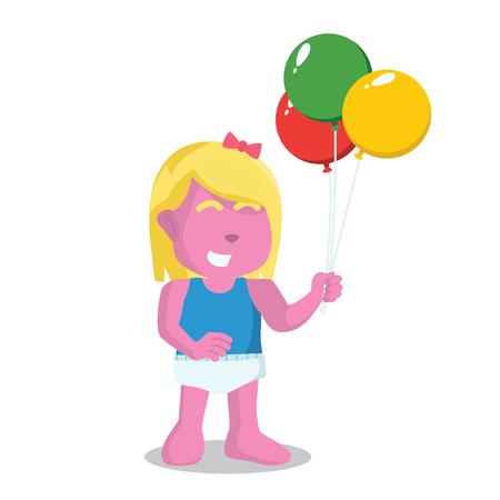 Pink baby girl holding balloon– stock illustration Illustration