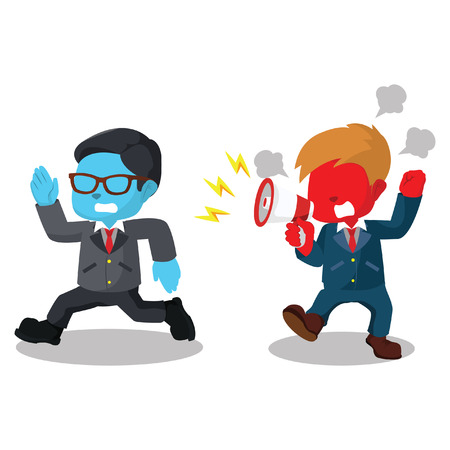 Red boss yelling angry with running employee– stock illustration 向量圖像