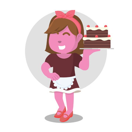 Pink housewife serving cake– stock illustration