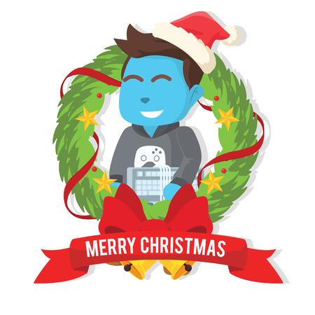 크리스마스 great 화 환 내부 재고 일러스트에서 파란색 게이머입니다.