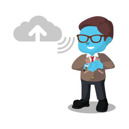 Blue businessman uploading to cloud server– stock illustration Çizim