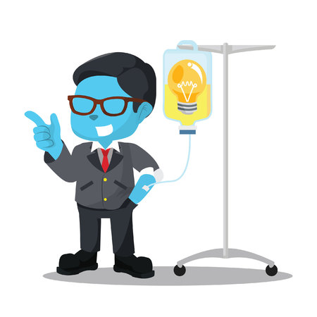 Blue businessman getting infused by bulb