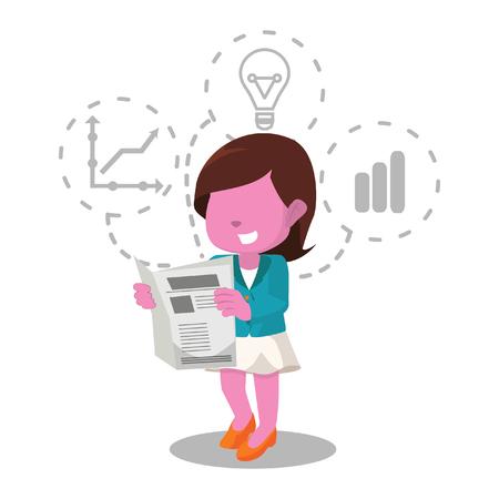 Roze zakenvrouw krant illustratie lezen stock photography