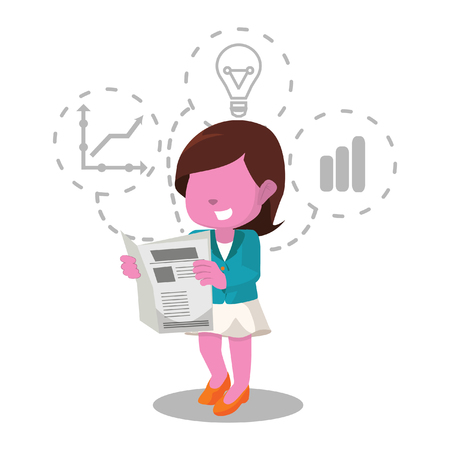 Pink businesswoman reading newspaper– stock illustration