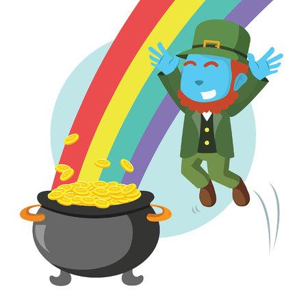 Blue leprechaun jumping to pot of gold and rainbow illustration.