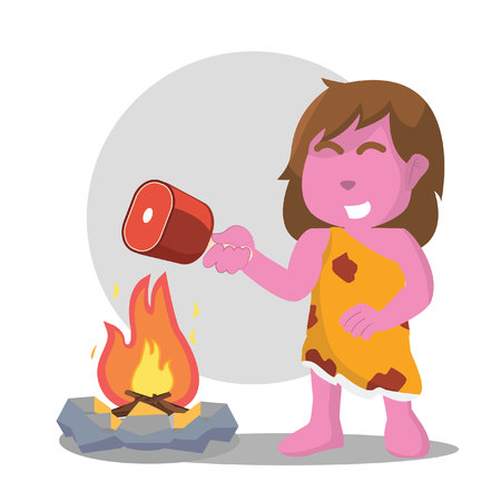 Pink cave woman cooking meat over a fire. Vector illustration