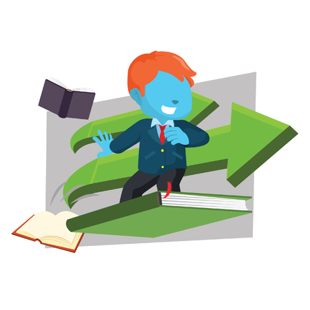 Blue businessman surf with envelope– stock illustration Çizim