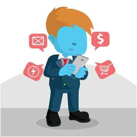 Blue businessman checking his payment notification– stock illustration Illustration
