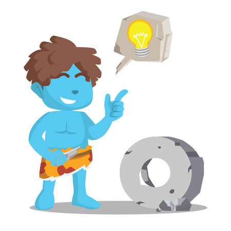 Blue caveman stone ide illustration design– stock illustration