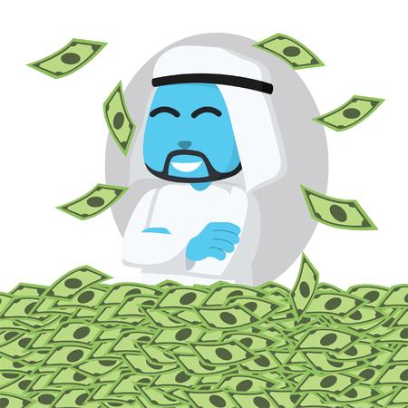 Blue arabian businessman happy in sea of money– stock illustration 版權商用圖片 - 93218382