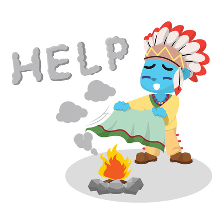 Blue indian boy sending help message– stock illustration