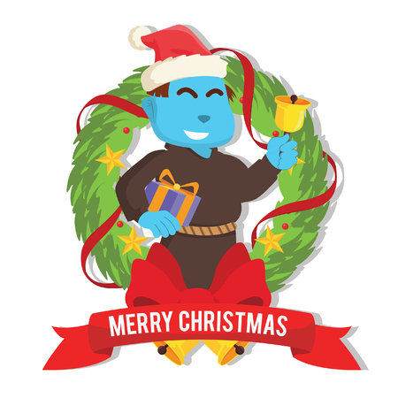 Blue bishop with christmas present inside christmas wreath in stock illustration.