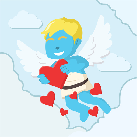 Blue cupid boy showing love letter colorful– stock illustration