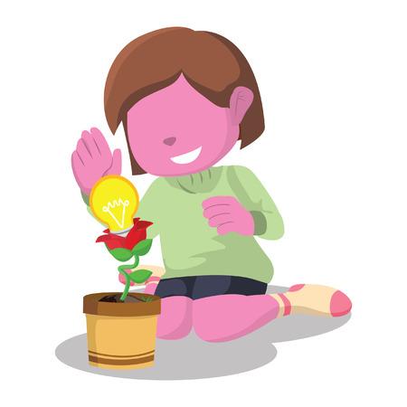 """Roze meisje met innovatie plantâ ? """"voorraadillustratie Stock Illustratie"""