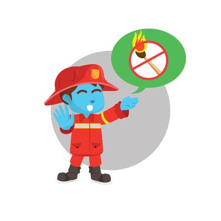 Blue firefighter giving warning advise– stock illustration