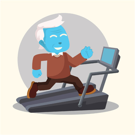 Blue old man fit running with treadmill– stock illustration Ilustracja