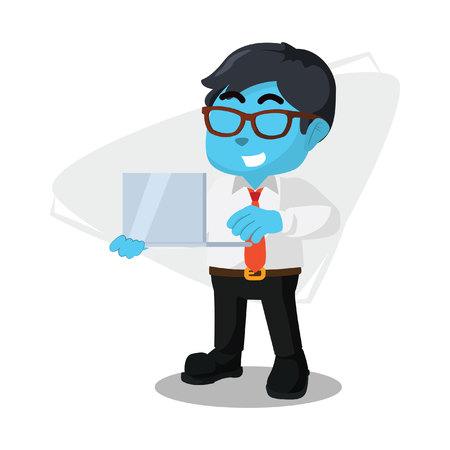 Blue businessman holding laptop– stock illustration Çizim