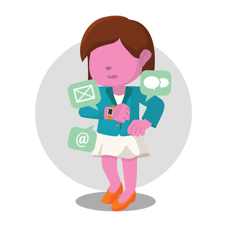 Pink businesswoman receiving email notification from smartwatch– stock illustration