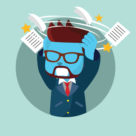 Blue businessman stressed by his work in stock illustration.