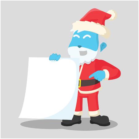 Blue santa clause holding blank paper– stock illustration