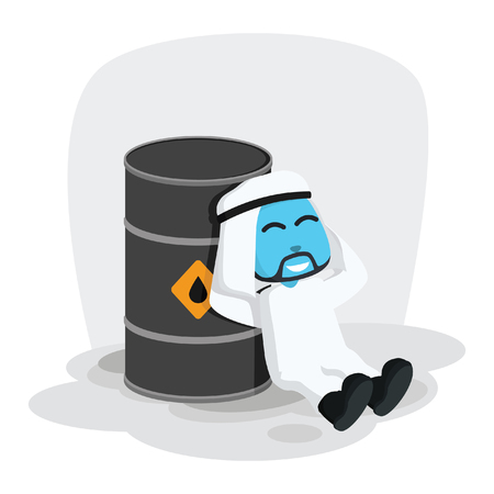Blue Arabian businessman lying on his oil barrel vector illustration Banco de Imagens - 93377248