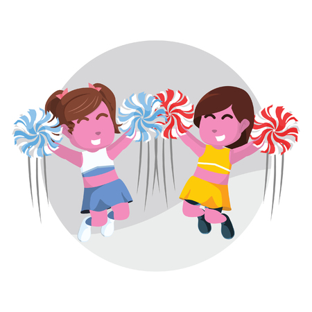 Two pink cheerleader jumping together– stock illustration