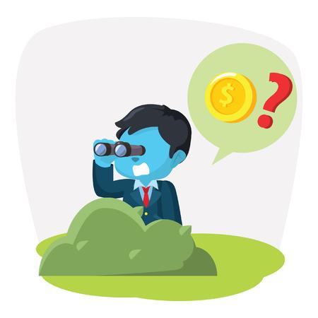 Blue businessman searching coin with binocular– stock illustration Illustration