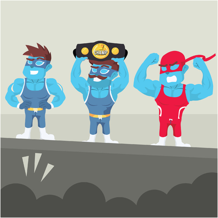 Blue wrestlers on stage stock illustration.